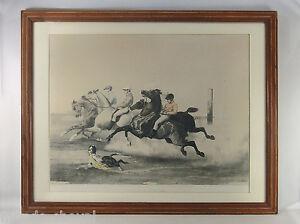 GRANDE-LITHO-ANCIENNE-E-CICERI-le-depart-de-la-course-chevaux-jockeys