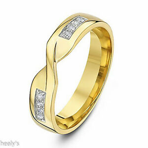 Details About 9ct Yellow Gold Diamond Set 4mm Twist Crossover Ring Wedding Band Hallmarked