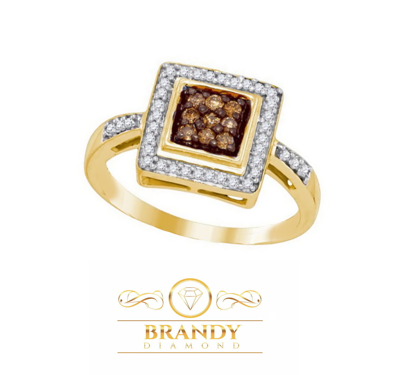 Brandy Diamond® Chocolate Brown 10K Yellow gold Be My Princess Ring .27 Ct