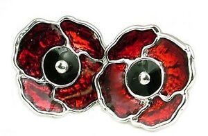 STERLING-SILVER-ENAMELLED-POPPY-STUD-EARRINGS