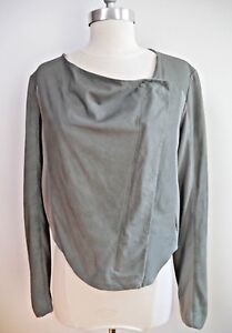 Worn Helmut Drape Gray Up Knit Jacket Inserts Once Size Lang With Zip Leather M 77F5nTHxrW