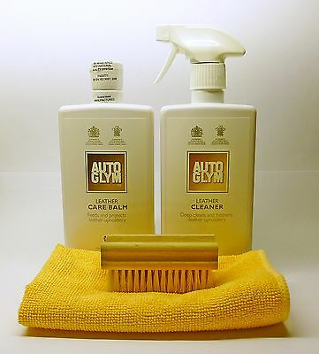 """Autoglym Leather Cleaner & Care Balm """"KIT"""" with Brush and Microfibre Cloth"""