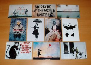 SET-OF-TEN-QUALITY-BANKSY-POSTCARD-SIZE-PRINTS