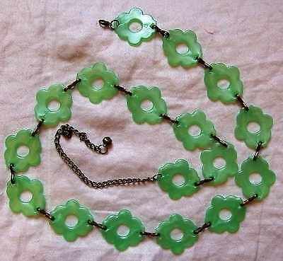 Chic Retrò Vintage 60s Verde Lucite Fiore Potenza Gogo Cintura Festival Sera Giorno-mostra Il Titolo Originale