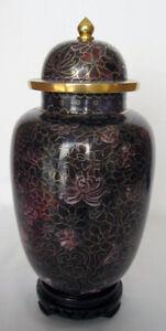 10-034-Beijing-Cloisonne-Cremation-Urn-Hong-Kong-Style-Gold-Floral-Design-New