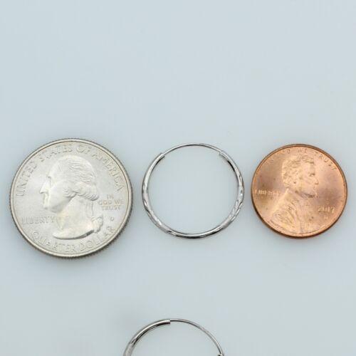 14K or Blanc 1.5 mm d/'épaisseur Diamant Coupe Satin infinies petites boucles d/'oreilles Créoles 20 mm