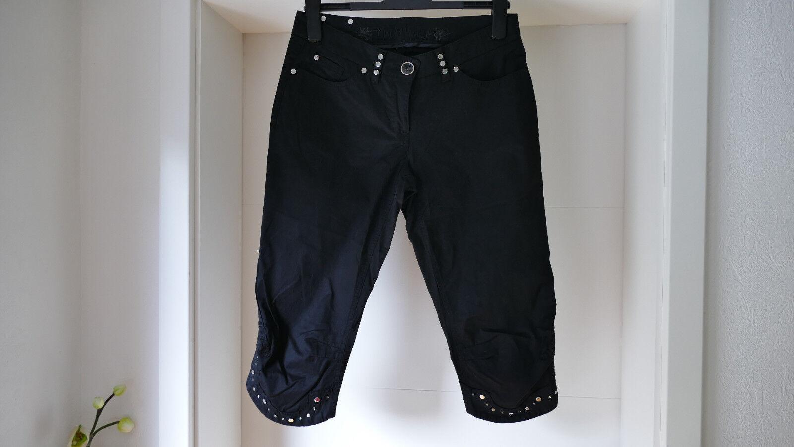 AIRFIELD Stretch Hose Jeans Gr. 38 3 4 Länge schwarz De Lux Denim LUXUS wNeu
