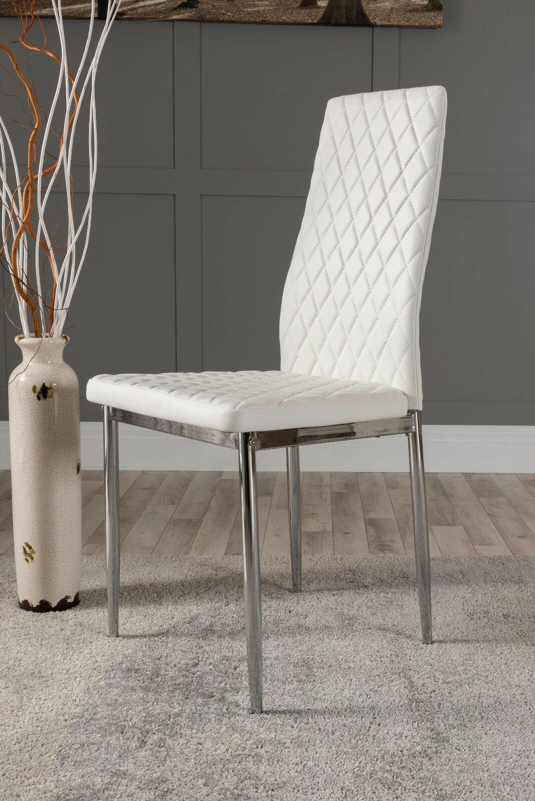 4x Milan Chrome Hatched White Faux Leather Dining Chairs Metal Legs