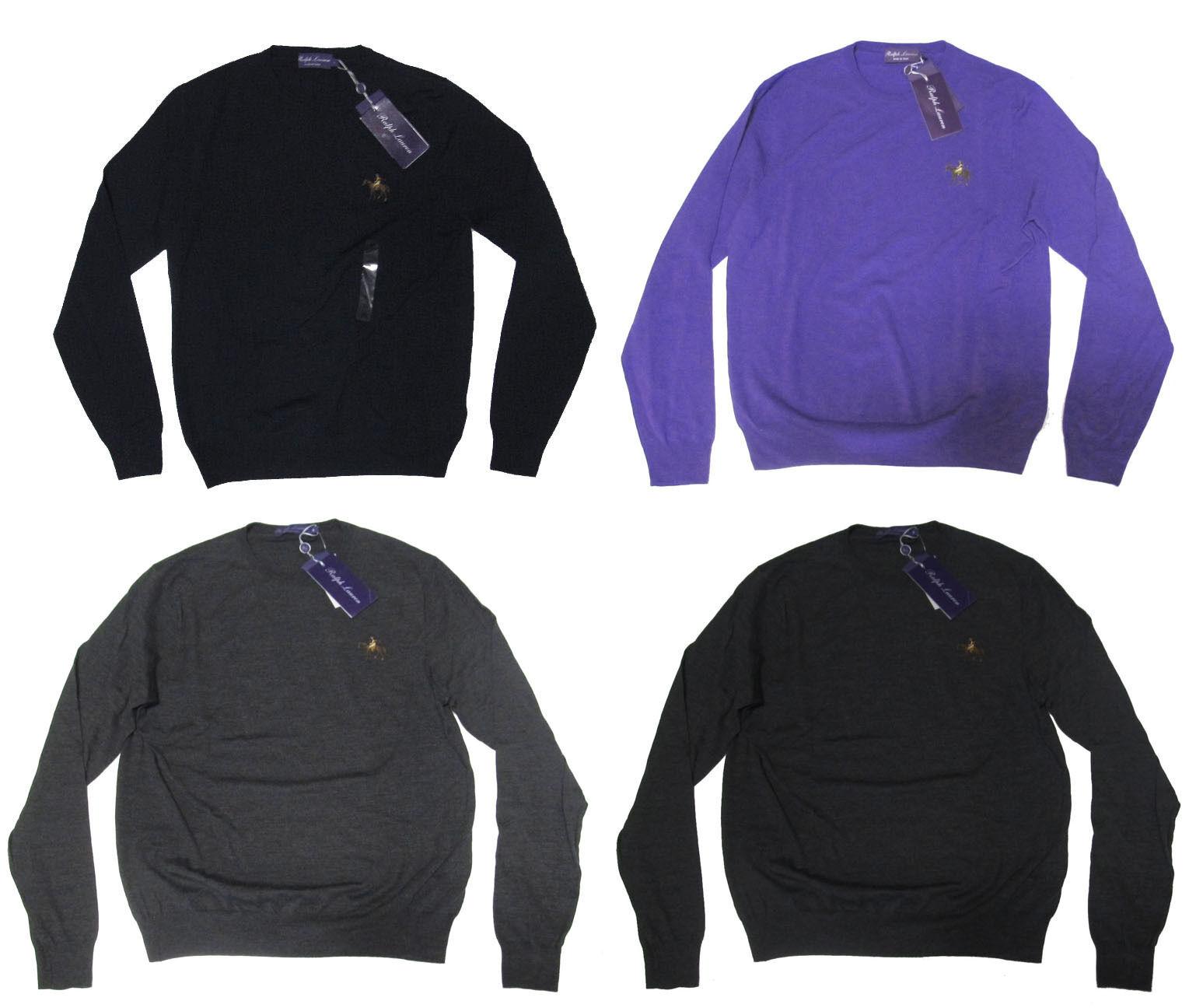 695 Ralph Lauren lila Label  Herren Slim Wool Equestrian Crew Pony Logo Sweater