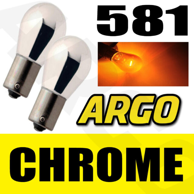581 SILVER VISION CHROME SHINE AMBER INDICATOR BULBS QTY 2 BAU15S 12v