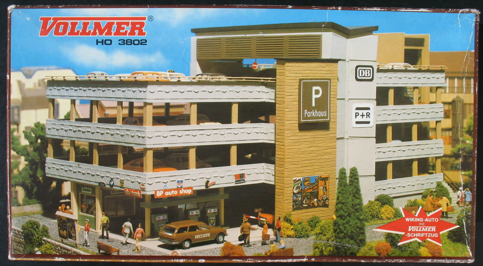 VOLLMER 3802 3802 3802 - City Parkhaus mit WIKING Auto - H0 - Eisenbahn Modellbausatz Kit  | New Listing  809899