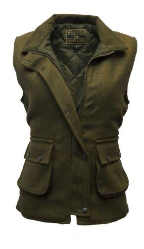 Dark Sage Waistcoat for Ladies Tweed Shooting Country Gilet by Walker /& Hawkes