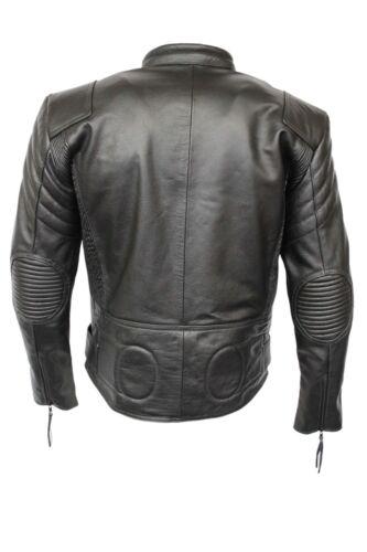 pelle uomo uomo nera da da Giacca vacchetta da Terminator motociclista imbottita di in IYqnFw