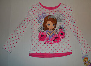 Disney-Sofia-The-First-Long-Sleeve-Top-Sizes-6-6X-NWT-Pink-Polka-Dot-Lace
