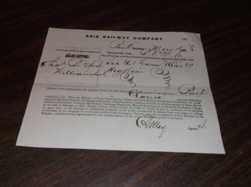 NEW YORK FREIGHT RECEIPT #1 MAY 1868 ERIE RAILWAY BATH