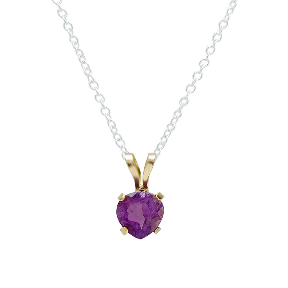 10K Yellow gold 5mm Real Genuine Amethyst Solitaire Heart Shape Pendant