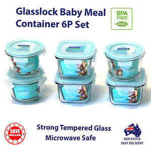 GLASSLOCK-6p-Glass-Food-Container-Baby-Meal-Storage-Microwave-Safe-BPA-Free-Set