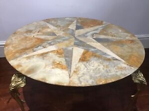 Antique-Style-French-Parisian-Brass-Ormolu-Marble-Onyx-Starburst-Coffee-Table