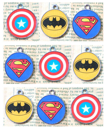 LOT Super Hero Superman Batman Logo Design Charm Metal Pendant jewelry Make Gift