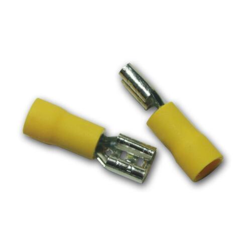 100 Kabelschuhe Flachsteckhülsen gelb 6,3x0,8mm für 4,0-6,0mm² Kabelschuh Buchse