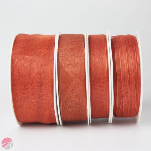 Organza Woven Edge Ribbon 30 Colours 20//50 Metre Reels 7mm 15mm 25mm 38mm