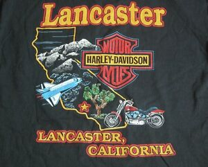 Vtg Nos 90s Harley Davidson Motorcycle Lancaster Ca T Shirt M