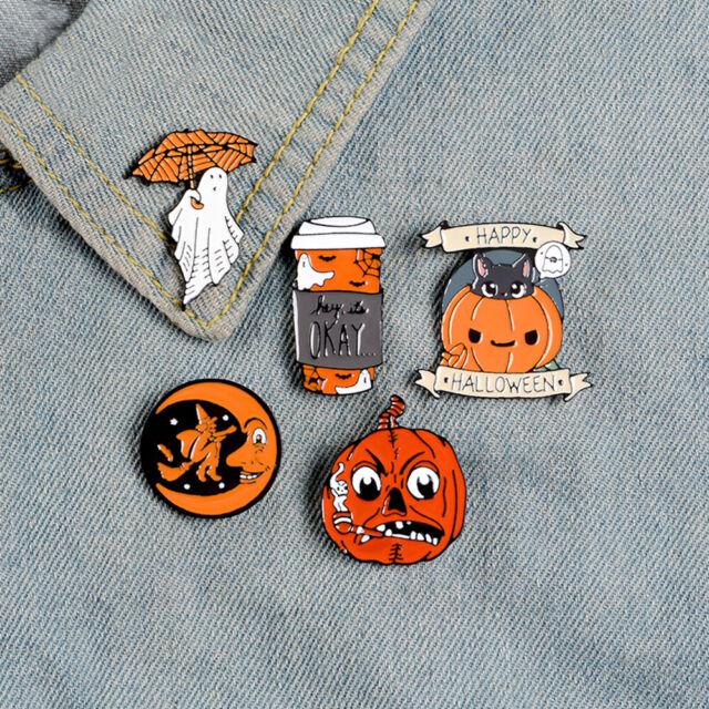 Halloween Funny Pumpkin Ghost Witch Enamel Brooch Pin