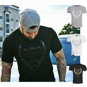 Men-039-s-ALPHA-Fitness-Gym-Muscle-Cotton-Round-Neck-Training-Sport-T-shirt-Tee