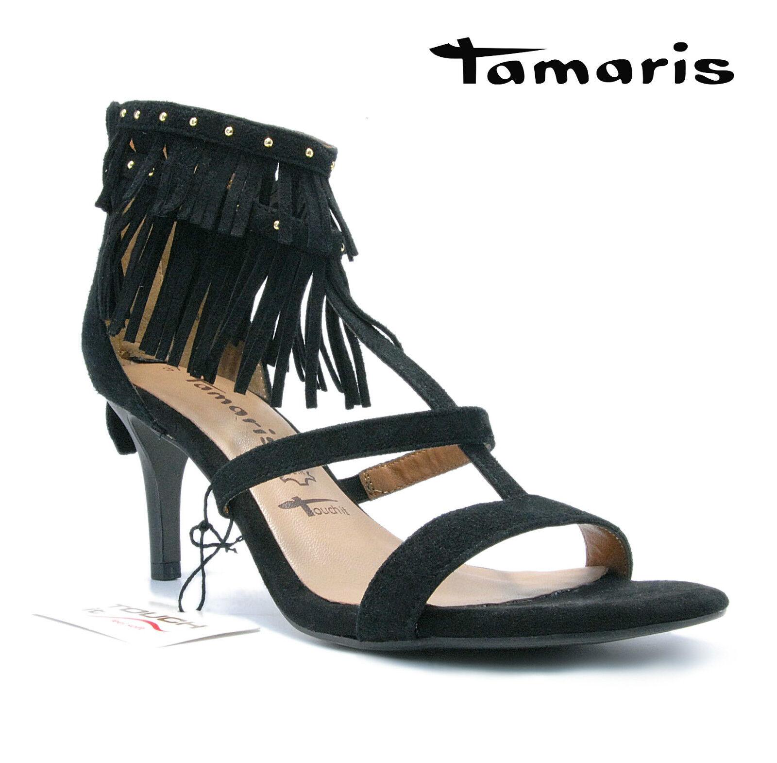 Tamaris Damen Sandaleette 28346-26 Schwarz Gold Echtleder mit Fransen