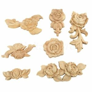 Unpainted Retro Wood Carved Rose Flower Wall Decal Onlay Applique Decor 1//4pcs
