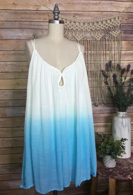 Torrid Ombré Braided Trim Tank Top Back Tie Tassel Boho Casual NEW Sizes 0,1