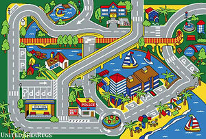 3x5 Area Rug Play Harbor Road Driving Around Port Kids