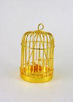 Dollhouse Miniature Metal Birdcage With Bird, Brass, D4751b