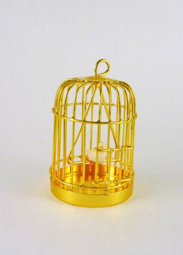 Dollhouse Miniature Metal Birdcage with Bird D4751B Brass