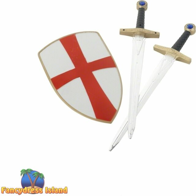 Knight Crusader Set Sword Shield Mens Kids Fancy Dress Accessory