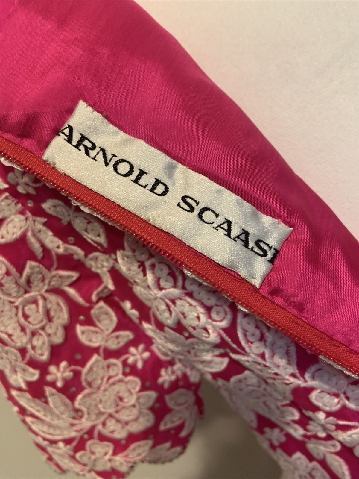 Arnold Scaasi Womens Vintage Couture Hot Pink Emb… - image 7