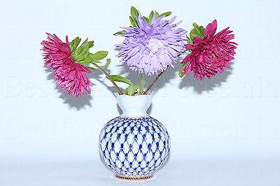 Russian Imperial Lomonosov Porcelain Flower Vase Cobalt Net 22k Gold Russia Rare