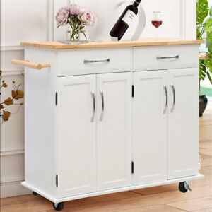 Details About Large Kitchen Island Trolley Cart On Wheels With Cupboard Drawer Storage Table