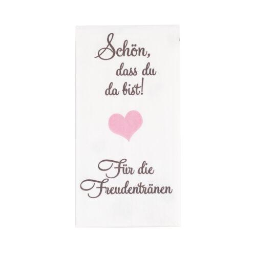 Taschentücher /'Schön dass du da bist!/' 10 Stk Freudentränen Hochzeit TAUPE ROSA