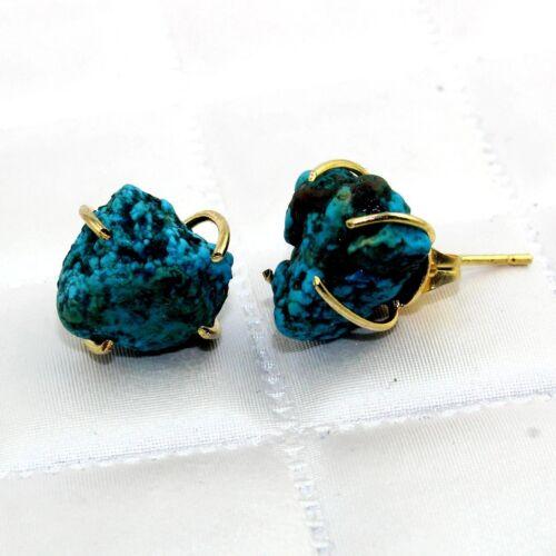 24k plaqué or premières naturelles nacres turquoise Stud PROG Setting Earring Jewelry