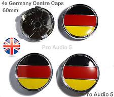 4x GERMANY FLAG WHEEL CENTRE CAPS 60mm Fits Audi VW Skoda Seat Benz UNIVERSAL UK