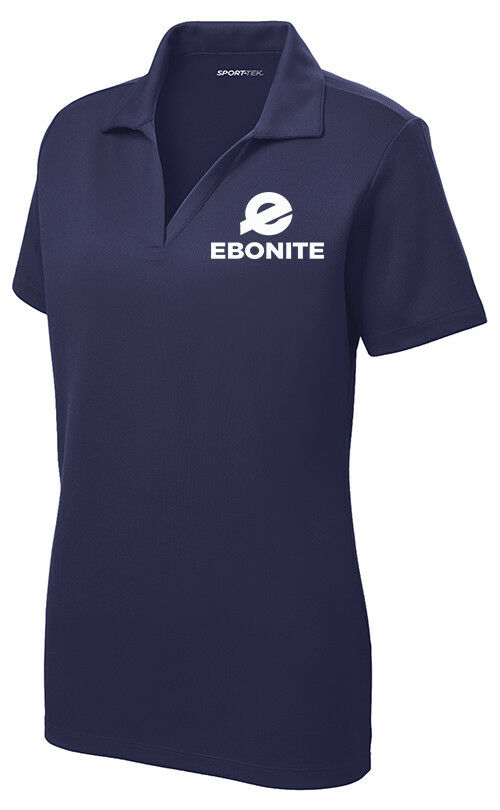 Ebonite Women's Ice Performance Polo Bowling Shirt Dri-Fit Navy White