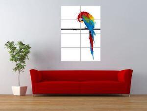 Paint Splat Parrot Bird Perch Polly Giant Wall Art Poster Print
