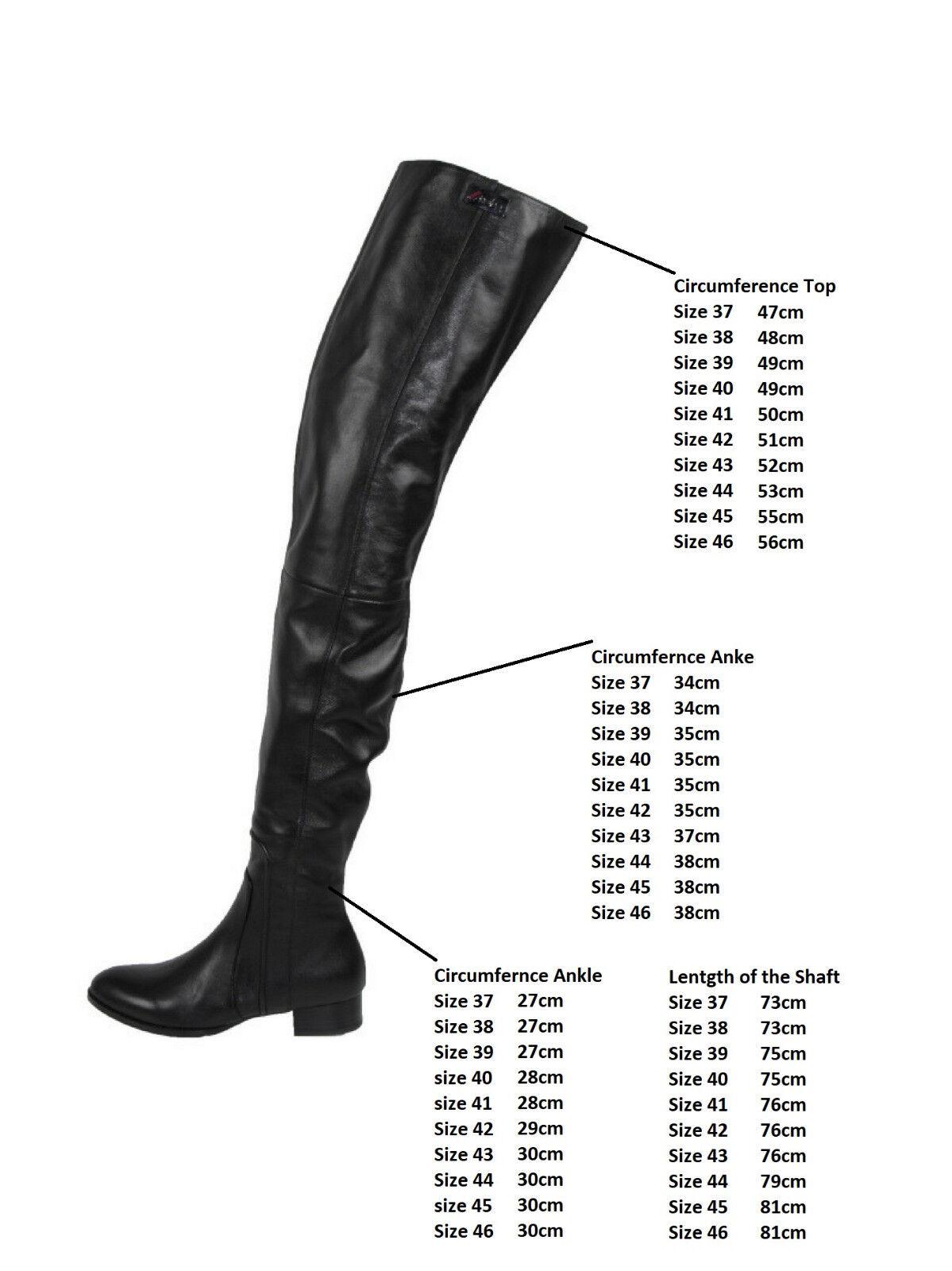 NEU     AROLLO Lange Echtleder Niedrig Heel Overknee Stiefel 37,38,39,40,41,42, f6ce3a