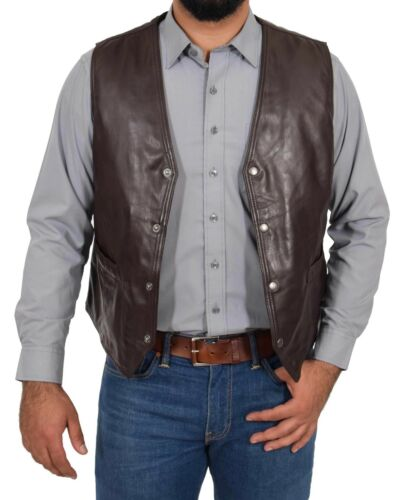 Mens Real Leather Traditional Style Classic Waistcoat Gilet Vest Petrelli Brown