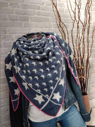 ❤ Zwillingsherz ❤ NEU Wolle Kaschmir Cashmere Tuch Schal Sterne Stars Blau Pink