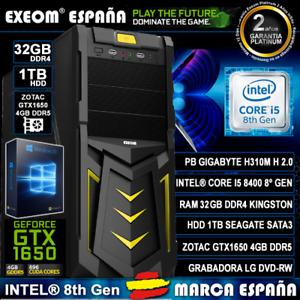 Ordenador-Pc-Gaming-Intel-Core-i5-8400-32GB-1TB-GTX1650-4GB-OC-DDR5-De-Sobremesa