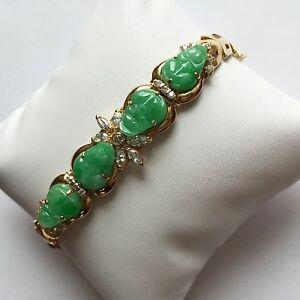 Image Is Loading 14k Yellow Gold Bracelet Beautiful Jade Carved Frog
