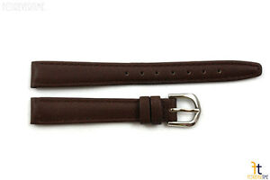 12mm-Genuine-Dark-Brown-Leather-Stitched-Watch-Band-Strap-Silver-Tone-Buckle