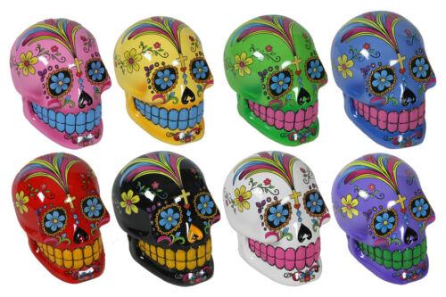 Coloured Skull Spardose ca 13 cm aus Polyresin Gelddose Sparbüchse Totenkopf